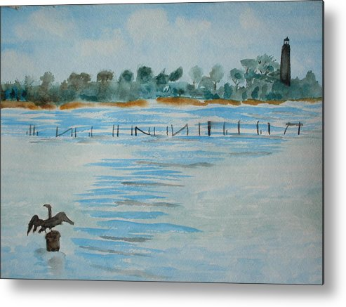 Watercolor Metal Print featuring the painting St. Marks Lighthouse Fl. by Warren Thompson