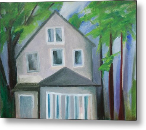 Suburbanscape Metal Print featuring the painting Staten Island House by Ron Erickson