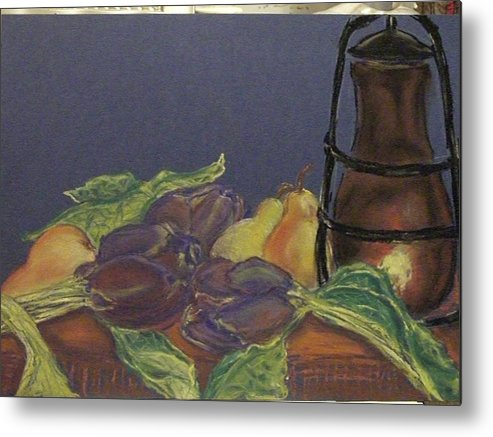 Still Life Metal Print featuring the pastel Still Life With Artichockes by Rita Bandinelli