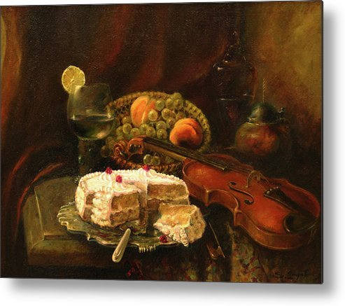 Armenian Metal Print featuring the painting Still-life With The Violin by Tigran Ghulyan