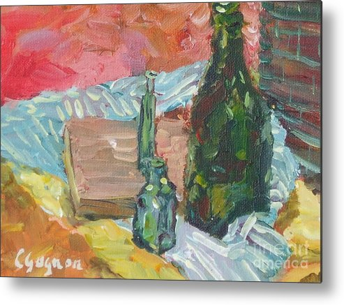 Bottle Metal Print featuring the painting Still Life With Three Bottles by Claire Gagnon