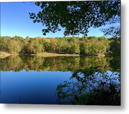 Still Quiet Morning Lake Reflection Reflecting Water Fall Color Leaves Park Indiana Brown County State Park Ogle Lake Metal Print featuring the photograph Still Morning by Russell Keating