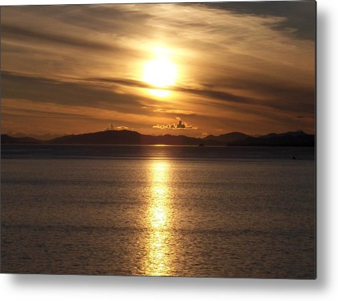 Seascape Metal Print featuring the photograph Still Night In Alaska by Janet Hall