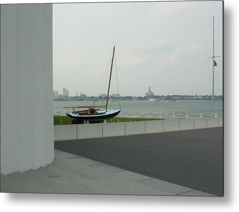 Sailboat Metal Print featuring the photograph Stilled Voyage by Nancy Ferrier