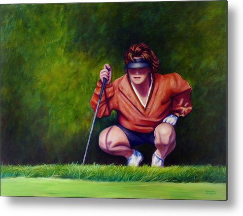 Golfer Metal Print featuring the painting Straightshot by Shannon Grissom