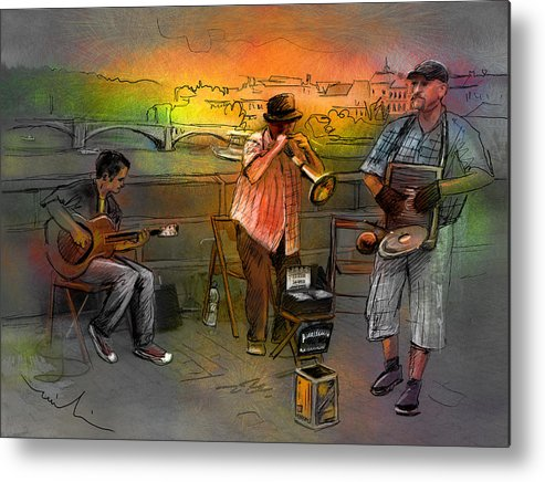 Music Metal Print featuring the painting Street Musicians In Prague In The Czech Republic 03 by Miki De Goodaboom