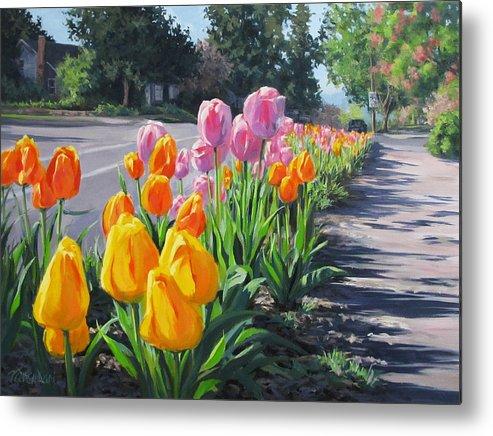 Large Metal Print featuring the painting Street Tulips by Karen Ilari