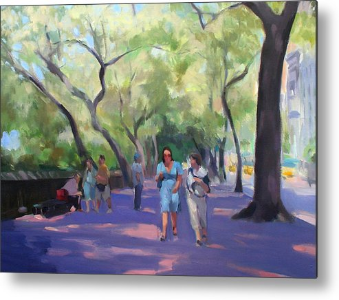 New York Metal Print featuring the painting Strolling In Central Park by Merle Keller