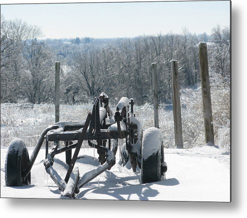 Landscape Metal Print featuring the photograph Stuck In The Snow by Martie DAndrea