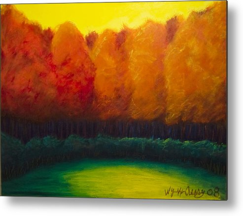 Abstract Landscape Metal Print featuring the painting Study In Orange by Wynn Creasy