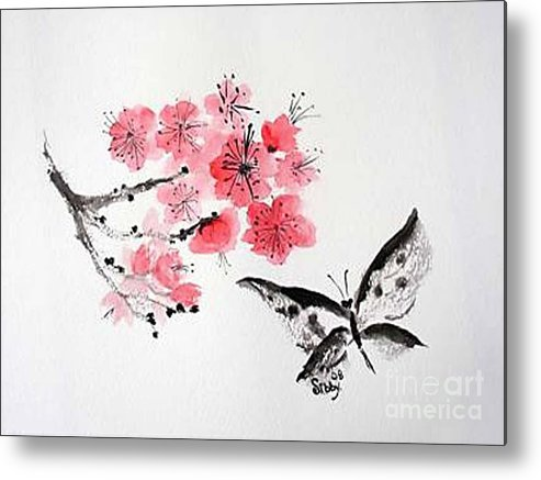 Blossoms Metal Print featuring the painting Sumi -e Butterfly by Sibby S