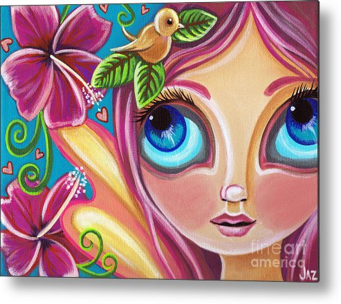 Pink Metal Print featuring the painting Summer Bliss Fairy by Jaz Higgins