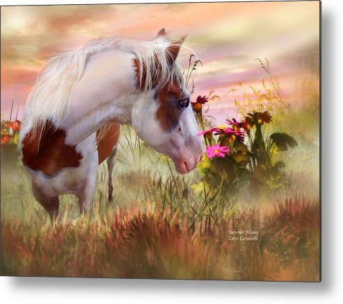 Horse Metal Print featuring the mixed media Summer Blooms by Carol Cavalaris