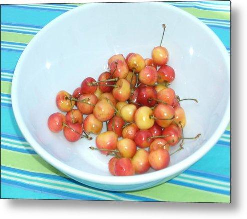 Cherries Metal Print featuring the photograph Summer Cherries by Nancy Ferrier