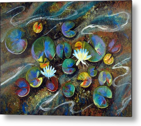Lillies Metal Print featuring the painting Summer Lillies by Art Nomad Sandra Hansen