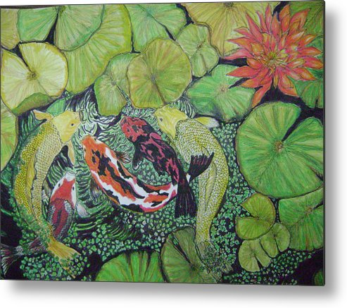 Fish Pond Metal Print featuring the painting Summer Pond At Lunchtime by Laura Johnson