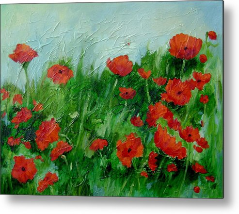 Red Poppies Metal Print featuring the painting Summer Poppies by Ginger Concepcion