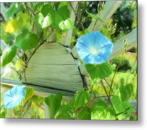 Summer Morning Glory Glories New Hampshire Garden Trellis Flora Flower Floral Metal Print featuring the painting Summer Usa by Eddie Durrett