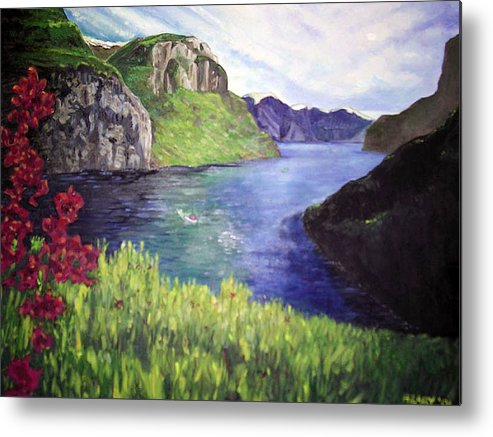 Summer Landscape Flowers Impressionist River Mountains Metal Print featuring the painting Summer's Zenith by Hilary England