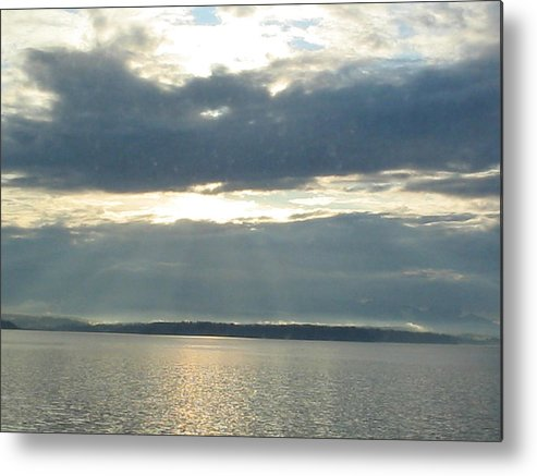 Clouds Metal Print featuring the photograph Sun Rays Thru Cloudy Sky by Valerie Josi