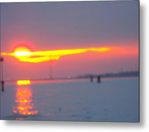 Landscaper Seascapes Sunset Metal Print featuring the photograph Sun Sets Over Venice IIi by Viviana Puello Villa