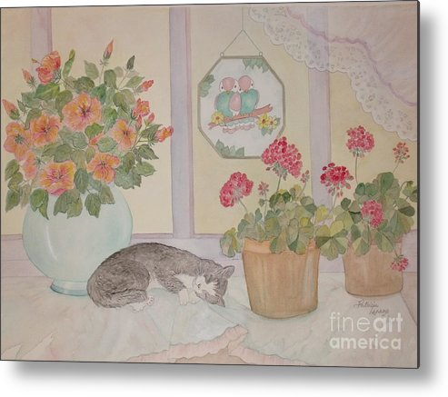 Potted Flowers/geraniums Metal Print featuring the painting Suncatchers by Patti Lennox