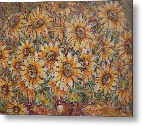 Flowers Metal Print featuring the painting Sunlight Bouquet. by Natalie Holland