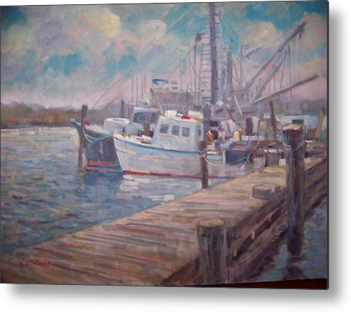 Fishing Boats At A Long Island Marina Metal Print featuring the painting Sunny Marina by Bart DeCeglie