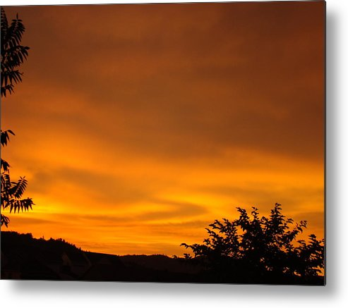 Sunset Metal Print featuring the photograph Sunset Art Prints Orange Glowing Western Sunset Baslee Troutman by Baslee Troutman
