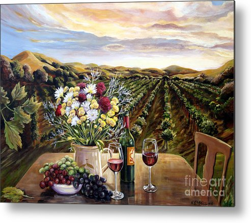 Sunset Metal Print featuring the painting Sunset At The Vineyards by Nancy Isbell