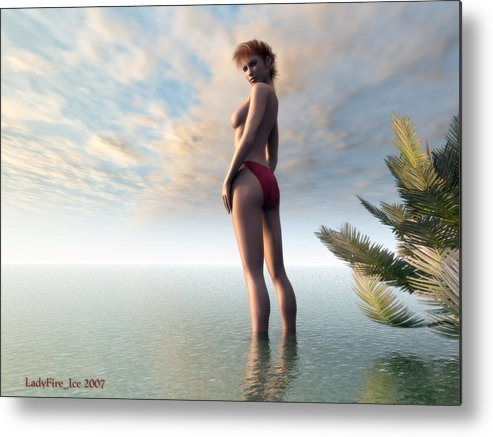 Beach Metal Print featuring the digital art Sunset Divine by Linda Ebarb