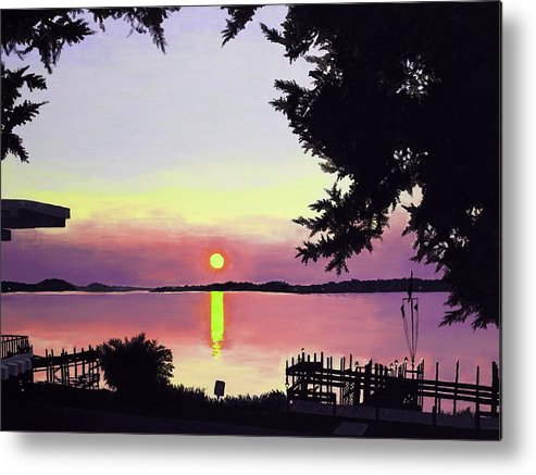 Sunset On Lake Metal Print featuring the painting Sunset On Lake Dora by Judy Swerlick