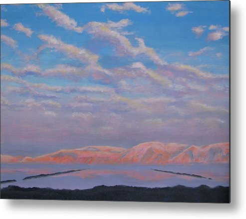 Sunset Metal Print featuring the painting Sunset On The Dead Sea In Israel by Art Nomad Sandra Hansen
