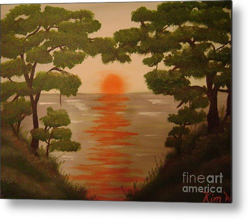 Landscape Metal Print featuring the painting Sunset On The Lake by Kim Walker