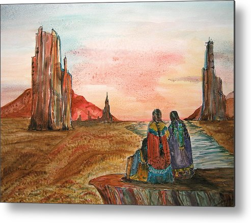 Original Art Metal Print featuring the painting Sunset On The Mesa by K Hoover