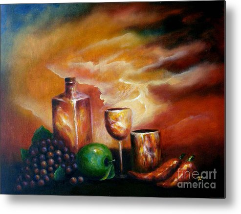 Still Life Metal Print featuring the painting Sunset With Green Apple by MM Zurahov