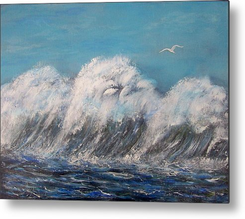 Surreal Tsunami Metal Print featuring the painting Surreal Tsunami by Tony Rodriguez