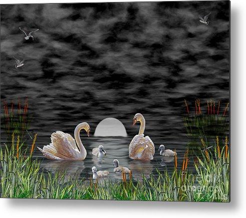 Swan Metal Print featuring the digital art Swan Family by Terri Mills
