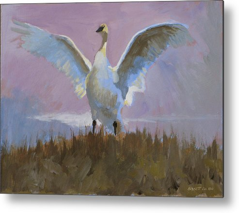 Bird Nature Tonal Purple Swan Lake Mist Metal Print featuring the painting Swan by Robert Bissett