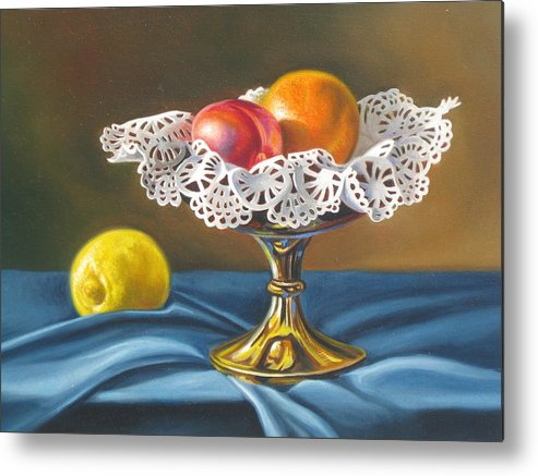Still Life Metal Print featuring the painting Sweet Lace by Arnold Hurley