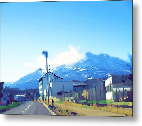 Landscape Metal Print featuring the photograph Swiss Road by Chuck Shafer