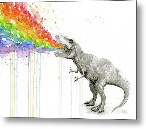 T-rex Metal Print featuring the painting T-rex Tastes The Rainbow by Olga Shvartsur