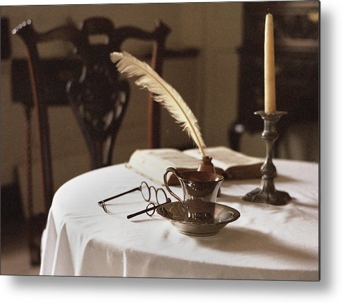 Table Metal Print featuring the photograph Table Scene by M Kathleen Warren