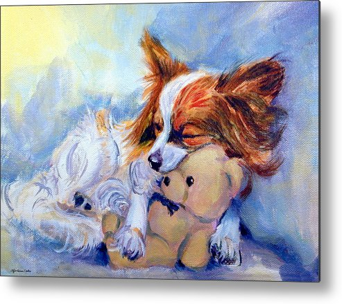 Papillon Dog Metal Print featuring the painting Teddy Hugs - Papillon Dog by Lyn Cook