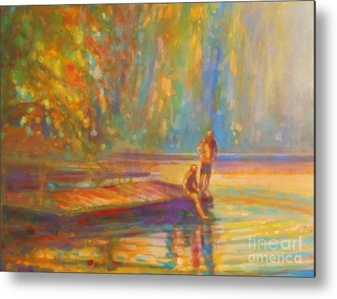 Boys Swimming Metal Print featuring the painting Testing The Water by Kip Decker