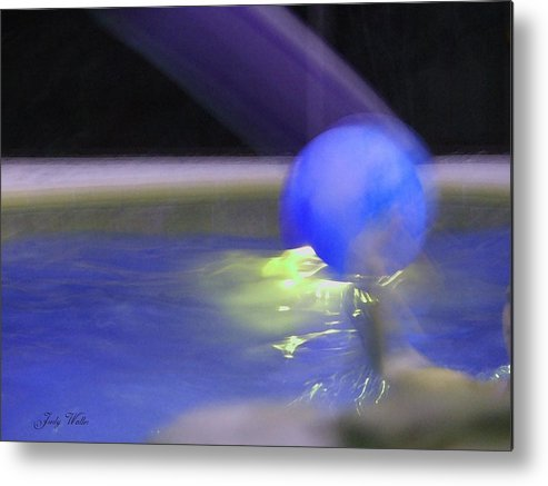 3-d Metal Print featuring the photograph The Blue Ball by Judy Waller