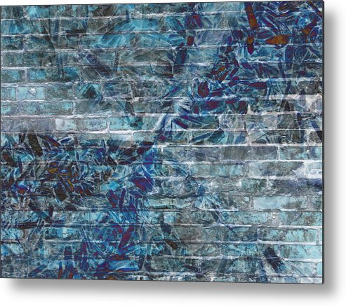 Metal Print featuring the mixed media The Blue Wall by Rene Avalos