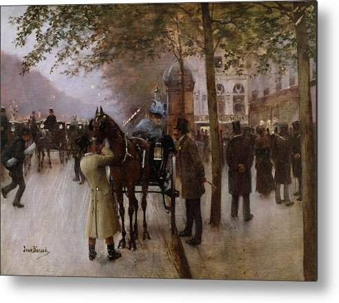 Traffic Metal Print featuring the painting The Boulevards by Jean Beraud