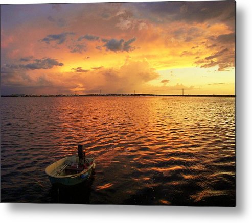 Sunset Background Metal Print featuring the photograph The Bridge To Fun by Charles Peck