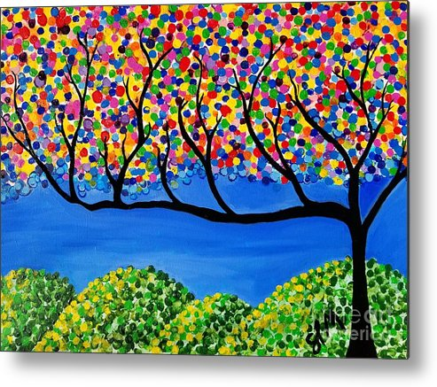 Tree Metal Print featuring the painting The Calming Tree by Shawn Christopher Mooney